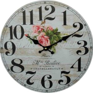 Clocks Country Vintage Inspired Wall Hanging FLEURA FLORAL ROSES Clock 34cm New