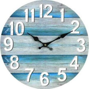 Clocks Country Vintage Inspired Wall RUSTIC AQUA TEAL BOARDS Clock 34cm New