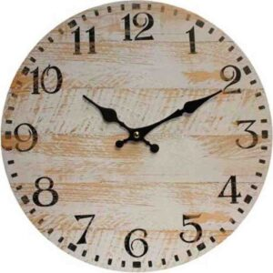 Clocks Country Vintage Inspired Wall RUSTIC WHITEWASH BOARDS Clock 34cm New
