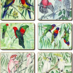 Country Inspired Kitchen AUSTRALIAN PARROTS Cork Backed Placemats or Coasters Set 6 New