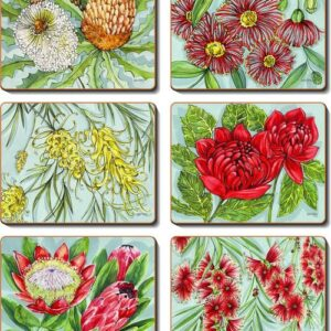 Country Inspired Kitchen AUSSIE BUSH BLOOMS Cork Backed Placemats or Coasters Set 6 New