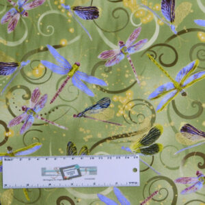 Patchwork Quilting Sewing Fabric DANCING DRAGONFLIES GREEN 50x55cm FQ New
