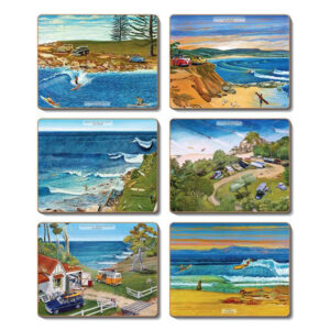 Country Inspired Kitchen SURF SAFARI Cork Backed Placemats Set 6 New