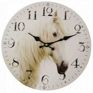 Clocks Country Vintage Inspired Wall Hanging WHITE HORSE Clock 34cm New