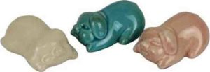 French Country Vintage Inspired Pink Sleeping Pigs Set of 3 Ornaments New