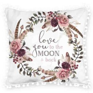 French Country Cushion Love You to the Moon Cushion Filled 45x45cm Kelly Lane New
