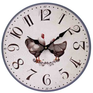 Clock Country Vintage Inspired Wall Hanging ROOSTER HEN Clock 34cm New