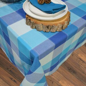 French Country Table Cloth DOBBY CHECK Tablecloth BLUES 150x230cm New