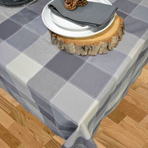 French Country Table Cloth DOBBY CHECK Tablecloth GREY 150x230cm New