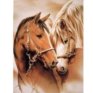 5D Diamond Painting Square Drills HORSE HEADS incl Canvas, Beads, Tool New