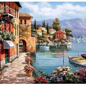 5D Diamond Painting Square Drills BEACHSIDE TOWN incl Canvas, Beads, Applicator New