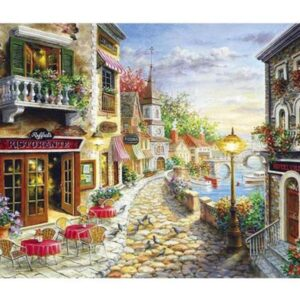 5D Diamond Painting Square Drills COBBLESTONE TOWN incl Canvas, Beads, Applicator New