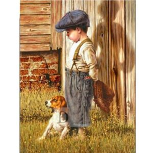 5D Diamond Painting Square Drills BOY and DOG incl Canvas, Beads, Applicator New