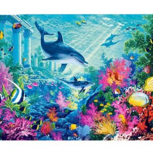 5D Diamond Painting Square Drills DOLPHIN REEF incl Canvas, Beads, Applicator New