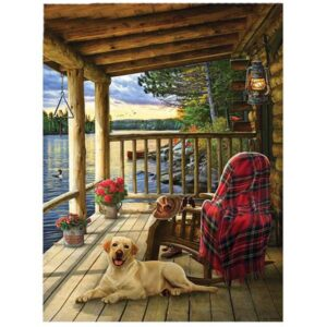 5D Diamond Painting Square Drills PORCH and DOG incl Canvas, Beads, Tool New
