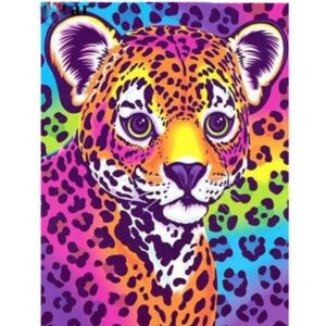 5D Diamond Painting Square Drills PAINTED LEOPARD incl Canvas, Beads, Applicator New