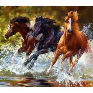 5D Diamond Painting Square Drills HORSES IN WATER incl Canvas, Beads, Applicator New