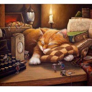 5D Diamond Painting Square Drills SLEEPING CAT incl Canvas, Beads, Applicator New