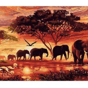 5D Diamond Painting Square Drills ELEPHANTS incl Canvas, Beads, Applicator New