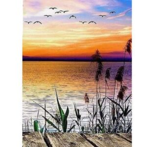 5D Diamond Painting Square Drills SUNSET JETTY incl Canvas, Beads, Applicator New