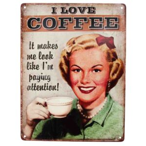 Country Tin Sign Vintage Inspired Wall Art I LOVE COFFEE Retro Plaque New