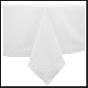 French Country Table Cloth HEMSTITCH Tablecloth WHITE Assorted Sizes New