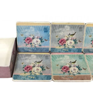 French Country Coasters Inspired Kitchen Decorative Floral Resin Set 6 New