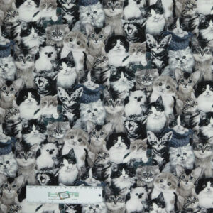 Patchwork Quilting Sewing Fabric BLACK AND WHITE CATS 50x55cm FQ New