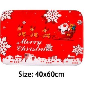 Door or Kitchen Bathroom Christmas Floor Mat Santa Snow Rect Non Slip Floormat New