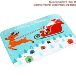 Door or Kitchen Bathroom Christmas Floor Mat Blue Rectangle Non Slip Floormat New