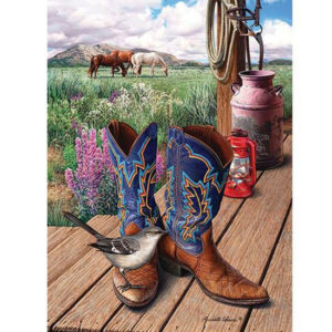 5D Diamond Painting Square Drills WESTERN BOOTS incl Canvas, Beads, Tool New