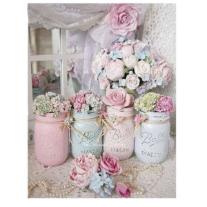 5D Diamond Painting Square Drills FLORAL MASON JARS incl Canvas, Beads, Tool New