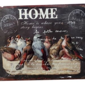 Country Tin Sign Vintage Inspired Wall Art HOME IS WHERE STORY BEGINS Retro Plaque New