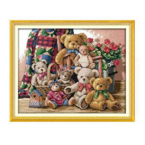 Cross Stitch Kit TEDDY BEAR FAMILY X Stitch Joy Sunday Designs Incl Threads
