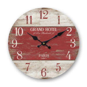 Clock Country Vintage Inspired Wall Hanging RED GRAND HOTEL PARIS Clock 29cm New