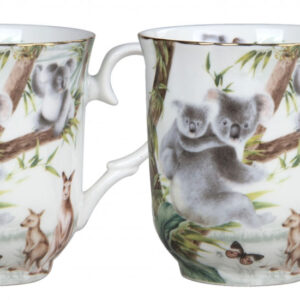 French Country Chic Kitchen Coffee Mugs Elegant AUSTRALIAN WILDLIFE Set of 2 New