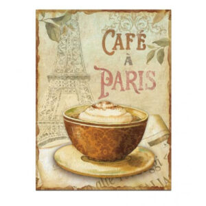 Country Tin Sign Vintage Inspired Wall Art CAFE PARIS Retro Plaque 30x50cm New