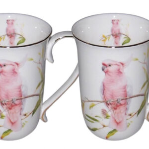 French Country Chic Kitchen Tea Coffee Mugs AUSTRALIAN COCKATOO Set of 2 New
