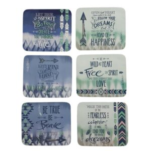 Country Kitchen GYPSY Cork Backed Coasters Set 6 NEW Cinnamon