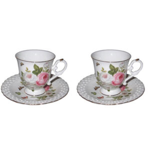 French Country Chic Kitchen Tea Cups and Saucers Set of 2 BUTTERFLY ROSE New