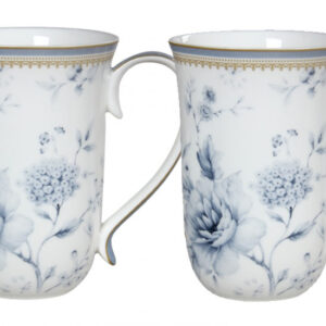 French Country Chic Kitchen Tea Coffee Mugs Elegant BLUE MEADOWS Set of 2 New
