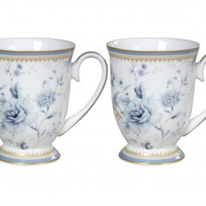 French Country Chic Kitchen Tea Coffee Mugs BLUE MEADOWS Set 2 in Gift Box New