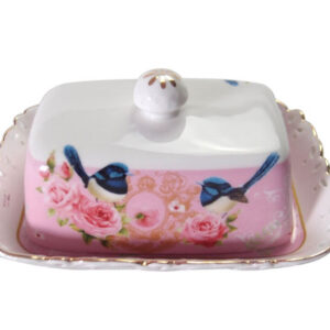 French Country Lovely Butter Dish with Tray PINK BLUE WREN with Gift Box New