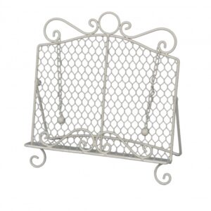French Country Vintage Kitchen CREAM Recipe Book Holder Wrought Iron New