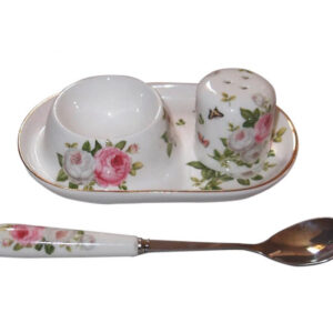 French Country Lovely Egg Cup with Spoon and Salt BUTTERFLY ROSE Gift Boxed New