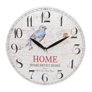 Clock Country Vintage Inspired Wall Hanging HOME SWEET HOME BIRD Clock 29cm New