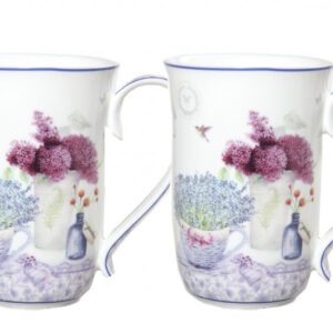 French Country Chic Kitchen Tea Coffee Mugs SPRING LAVENDER Set of 2 New