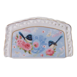 French Country Chic Fine China Kitchen BLUE WREN Napkin Holder New Giftboxed