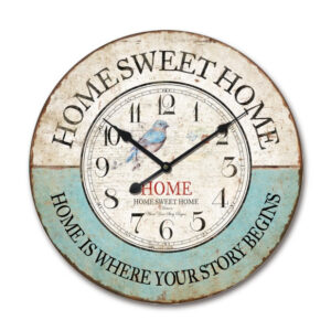 Clock Country Vintage Inspired Wall Hanging HOME SWEET HOME BIRD Clock 60cm New