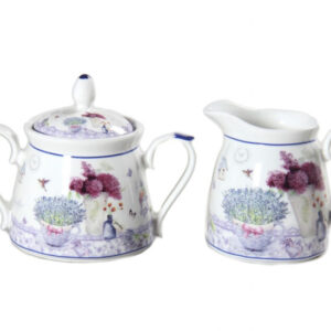 French Country Chic China Kitchen SPRING LAVENDER Sugar and Creamer Set New